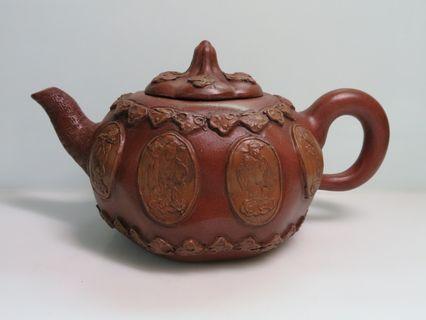 🚚 [老茗器]紫砂壺~早期古龍窯造 八仙立牌壺 陳鳴遠製 單孔出水 540cc