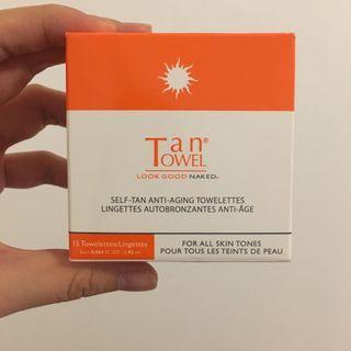 Self-tan anti-aging towelettes from tan towel