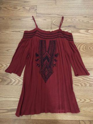 Red boho top - size s or xs