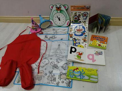 Touch book, clock, colour play etc