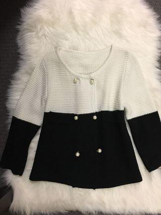Classic black and white crop jacket