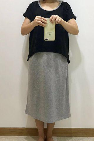 Midi Dress Maternity & Breastfeeding (Pregnancy Pregnant Fashionable Trendy Simple)