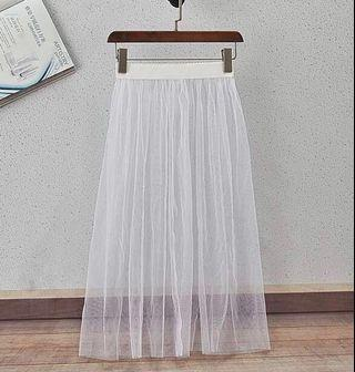 BNWT Midi Mesh Add-on Inner Skirt White