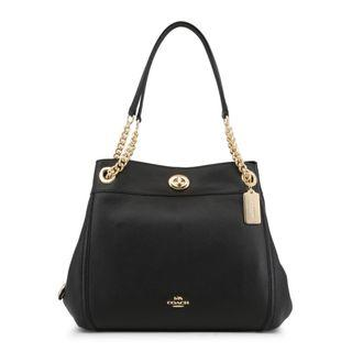 Coach Black Bucket Bag with Gold Chain