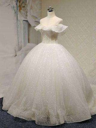 2019 new arrival  crystal  bling bling  fancy  wedding gown  with chapel train  華麗拖尾婚紗