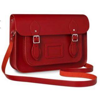 (FREE POS) 13 inch Original Classic Satchel in Leather - Red