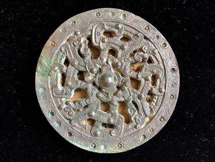 日本直郵 拍賣入手 發掘品 中國西漢 瑞獸紋 青銅透光鏡 折光鏡 魔鏡