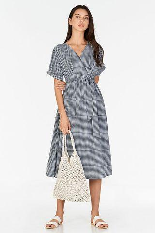 TCL Derila Gingham Midi dress in Navy