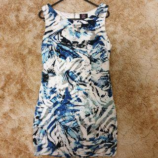 White, blue,black abstract dress