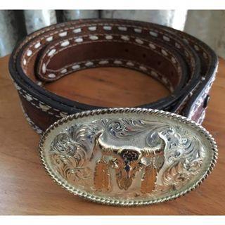 Montana Silversmith Long Horn Bull Leather Buckle Belt