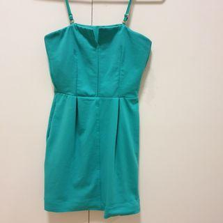 Green straps or strapless dress