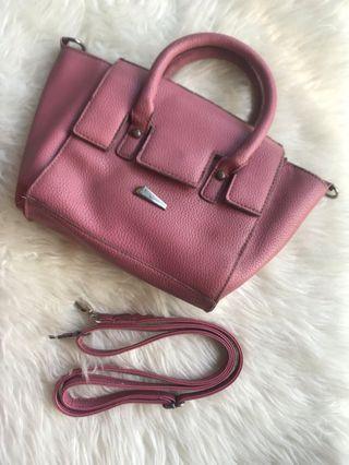 Tas kulit jeruk warna pink