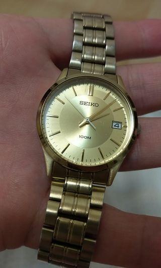 143 Seiko 30mm 7N42-0EX0 100m 精工 石英錶 金錶 quartz