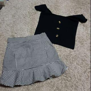 Brie set || Supergurl black cami tortoise shell button up top and BNWT black and white gingham frilly hem mermaid flare mini skirt ulzzang korean