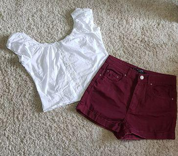Tiffany set || Maroon High Waist Shorts factorie brand and Preppy puff sleeve button down top