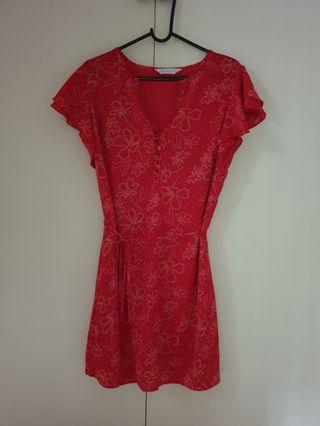 Red layered sleeved dress