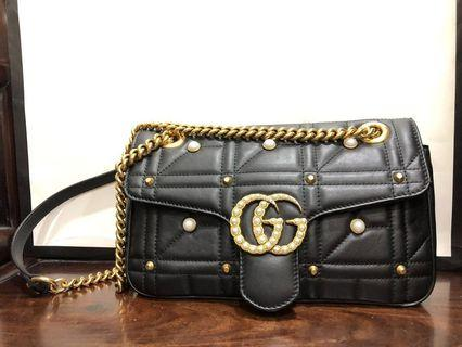 Gucci GG Marmont Matelasse Leather Pearl