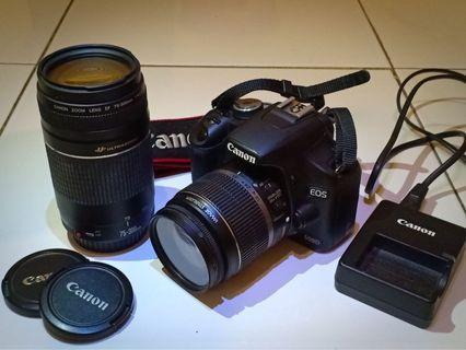 Jual cepat canon 500D + lensa 75-300