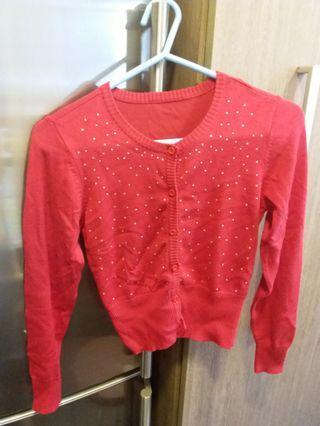女童紅色冷氣外套