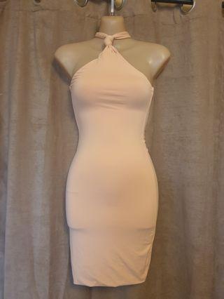Peachy Beige Bodycon Halterneck Dress Size XXS Worn Once