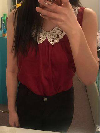 Lace Burgundy Top | Size S