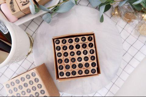 Alphabet rubber stamp