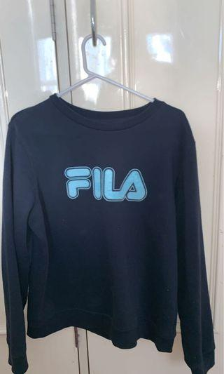 Navy fila crew neck jumper