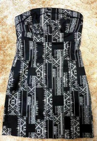 Strapless black and white dress
