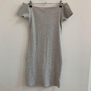 BNWT factorie grey ribbed off shoulder bodycon dress