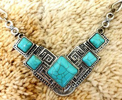 Turquoise necklace crafted in Borneo