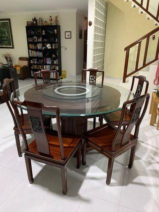 Rosewood Round Dining Table Set