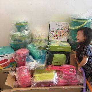Tupperware Raya cake Tersedia / floral one touch / B2B snack stor / Emerald Bowls
