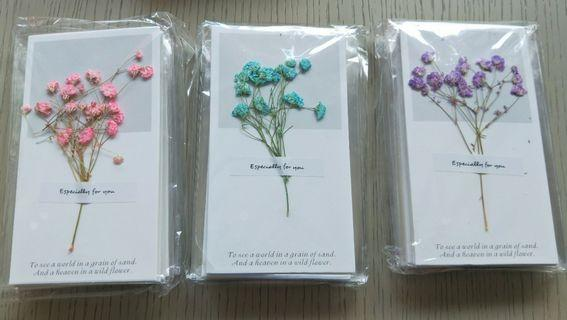 Handmade DIY greeting cards with real flowers,Great for birthday,  mother / father day,  teacher day