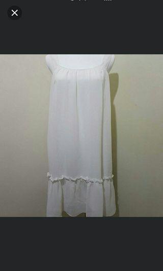 🚚 白色雪紡無袖洋裝