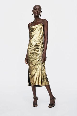 Zara Gold satin slip dress