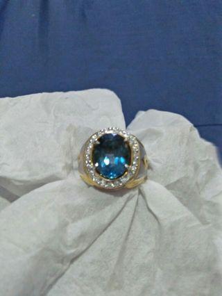 Natural Topaz London Blue Memo NTD Ring Perak Handmade
