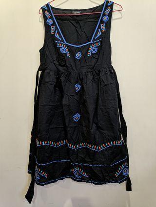 Black embroided dress