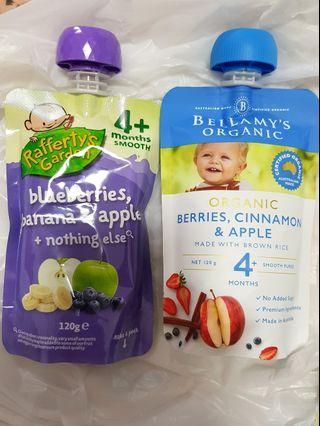 Rafferty garden and bellamy organic food pouches
