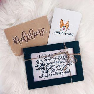 Customised calligraphy card and frame — Graduation