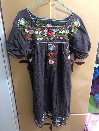 復古 刺繡 花花 連身裙