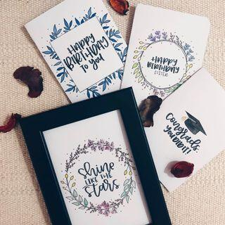 Customised calligraphy frames and cards