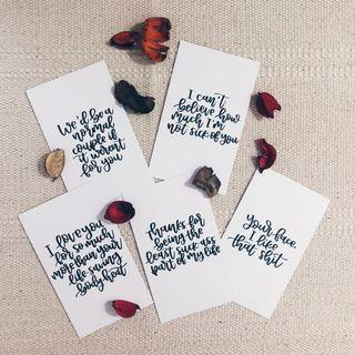 Customised calligraphy cards