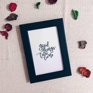 Customised framed calligraphy — Watercolour