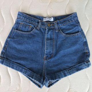 🚚 絕版正品American apparel深藍經典AA褲高腰丹寧牛仔短褲