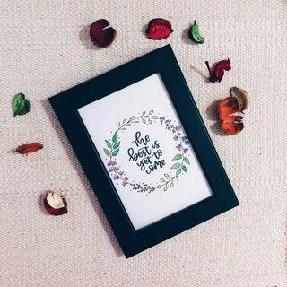 Customised framed calligraphy — Floral