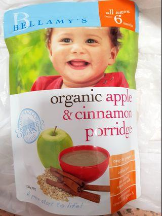 Bellamy organic apple and cinnamon porridge