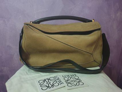 Loewe Puzzle Bag in Suede Leather