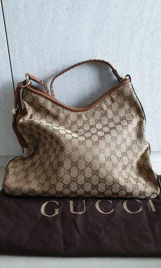 774ed152aa92 Gucci Beige Brown Canvas Marrakech Medium Shoulder bag