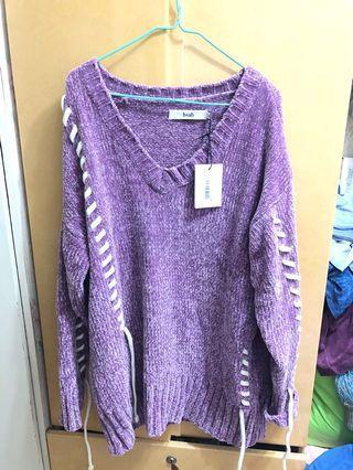 紫色 厚身 針織冷衫 v領連身裙 purple dress