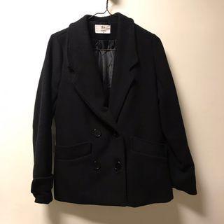 🚚 大出清🔥西裝V領黑色毛呢大衣